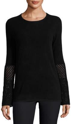 Neiman Marcus Cashmere Crochet-Sleeve Crewneck Sweater, Black