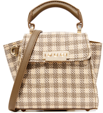 ZAC Zac Posen Eartha Gingham Straw Mini Top Handle Bag