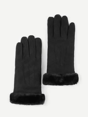549482945 Shein Contrast Faux Fur Gloves