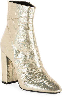 Saint Laurent Lou Zip Metallic Booties