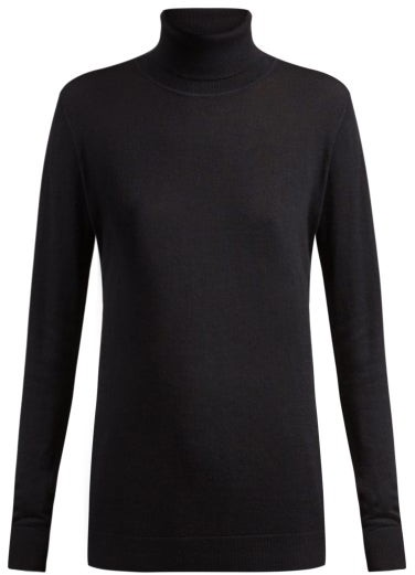 Roll Neck Fine Knit Cashmere Sweater - Womens - Navy