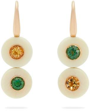 Francesca Villa Eclipse Yellow & Green Topaz Earrings - Womens - White