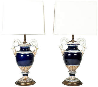 One Kings Lane Vintage Antique Meissen Porcelain Lamps - Set of 2
