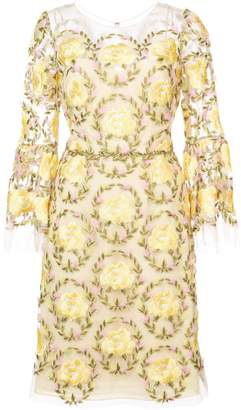 Marchesa floral-embroidered dress