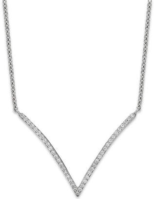 Wrapped Diamond V-Necklace in 10k White Gold (1/6 ct. t.w.)