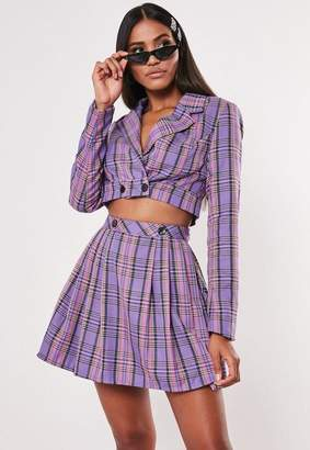 Missguided Check Print Cropped Blazer Co Ord