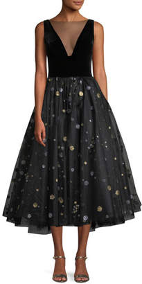 Monique Lhuillier Illusion-Neck Velvet-Bodice Glitter-Dot Tulle Cocktail Dress