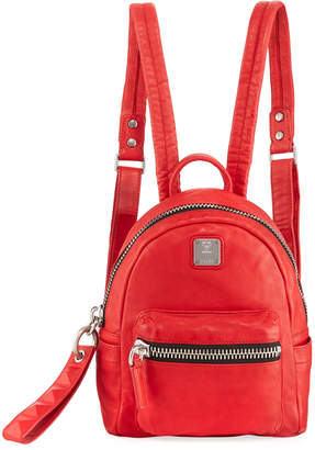 MCM Tumbler Leather Mini Backpack, Red