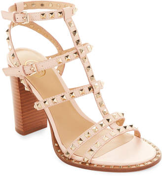 Ash Powder Lucy Studded Caged Leather Sandals