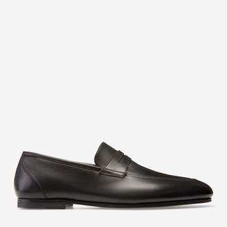 Bally Plator Black, Men's plain calf leather penny loafer in black