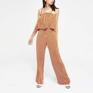 River Island Orange stripe belted wide leg trousers