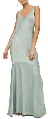 Topshop Satin Fishtail Gown