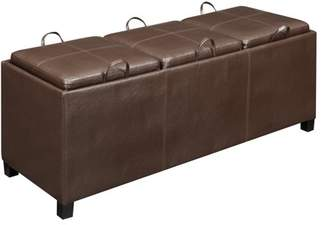 Generic Designs4Comfort Faux Leather Storage Bench with 3 Tray Tops, Espresso