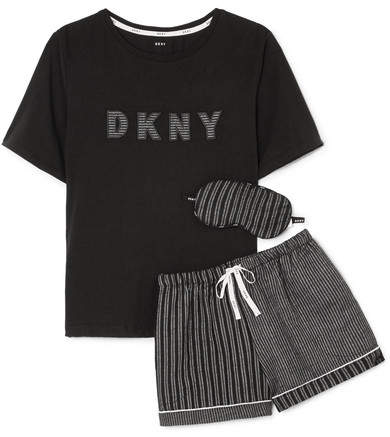 DKNY - Appliquéd Striped Jersey Pajama And Eyemask Set - Black