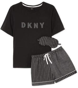 DKNY Appliquéd Striped Jersey Pajama And Eyemask Set - Black