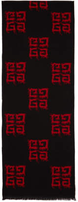 Givenchy Red and Black Multi 4G Scarf