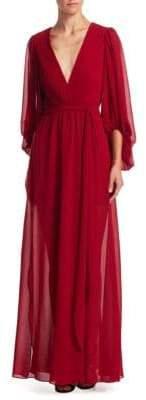 Halston Plissed Ruffle Gown