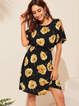 89f8b6d453 Shein Floral Print Open Shoulder Elastic Waist Dress