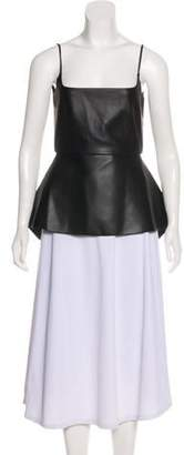 Cédric Charlier Faux Leather Peplum Top w/ Tags