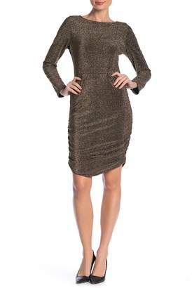 Vanity Room Metallic Knit Ruched Dress