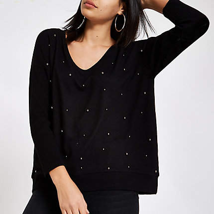 Womens Black pearl embellished jumper