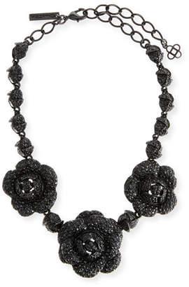 Oscar de la Renta Gardenia Pave Swarovski Crystal Necklace