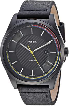 Fossil Men's 'Mathis' Quartz Stainless Steel and Leather Casual Watch, Color: (Model: FS5423)