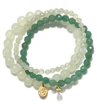 Satya Jewelry Womens New Jade Gold Om Stretch Bracelet Set