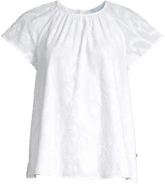 Draper James Embroidered Gathered Cotton Top