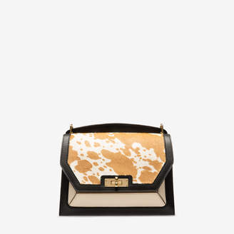 Bally Suzy Medium No Colour, Women's plain calf leather and calf hair shoulder bag in bianco and cuoio