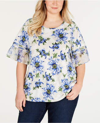Charter Club Plus Size Ruffle-Sleeve Floral-Print Top