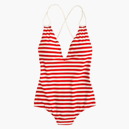 J.Crew Braided deep-V one-piece swimsuit in classic stripe