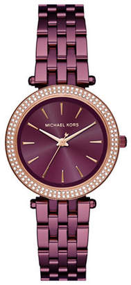 Michael Kors Mini Darci Plum IP Stainless Steel Link Bracelet Watch