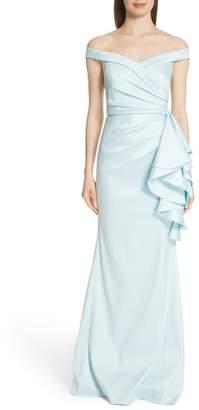 Badgley Mischka Platinum Off the Shoulder Ruffle Detail Gown
