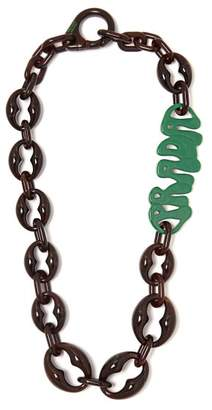 Prada Logo Chain Link Plexiglass Necklace - Womens - Green