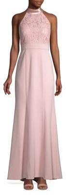 Eliza J Lace-Bodice Halterneck Gown
