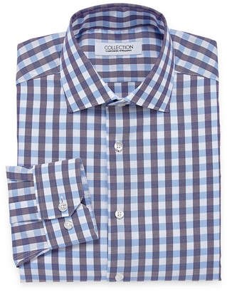 COLLECTION Collection by Michael Strahan Wrinkle Free Cotton Stretch Long Sleeve Woven Checked Dress Shirt