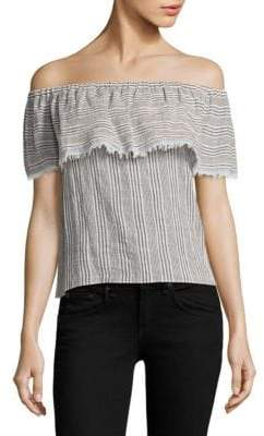 Bailey 44 Ruffled Striped Top