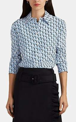 Prada Women's Geometric-Print Silk Blouse - Blue