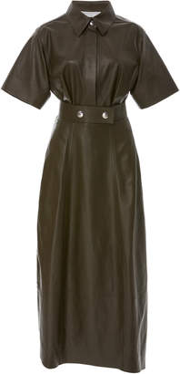 Victoria Beckham Belted Leather Shirt Dress