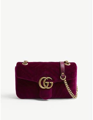 Gucci Ladies Fuschia Pink Marmont Velvet Shoulder Bag