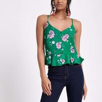 River Island Womens Green print frill hem cropped cami top