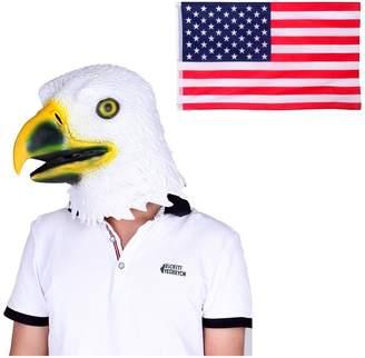 HDE Rubber Latex Eagle Head Face Mask Patriotic US American Flag Cape Costume
