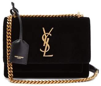 Saint Laurent Sunset Small Velvet Shoulder Bag - Womens - Black