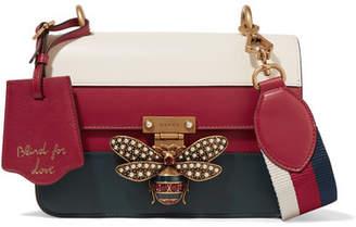 Gucci Queen Margaret Embellished Paneled Leather Shoulder Bag - Red