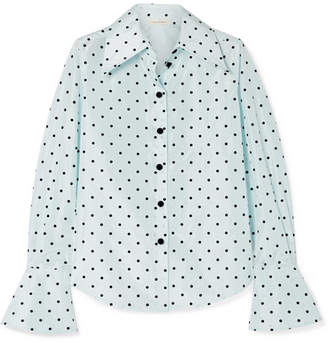 Marc Jacobs Polka-dot Flocked Silk-taffeta Shirt - Sky blue
