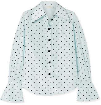Marc Jacobs Flocked Polka-dot Silk-taffeta Shirt - Sky blue