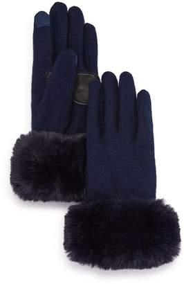 Echo Faux Fur-Cuff Tech Gloves