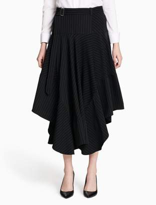 Calvin Klein striped belted high-low skirt