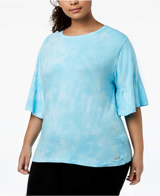 Calvin Klein Plus Size Tie-Dyed Ruffled-Sleeve Top